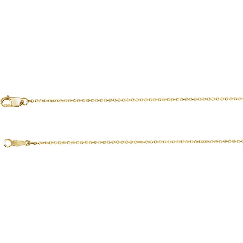 "14K Yellow 1mm Solid Cable 16"" Chain"