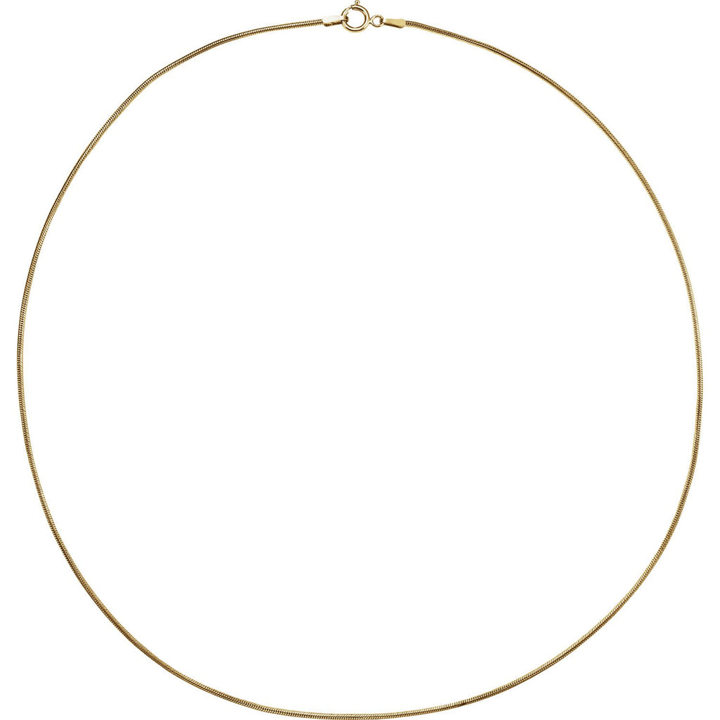 14kt Gold 1mm Solid Snake Chain