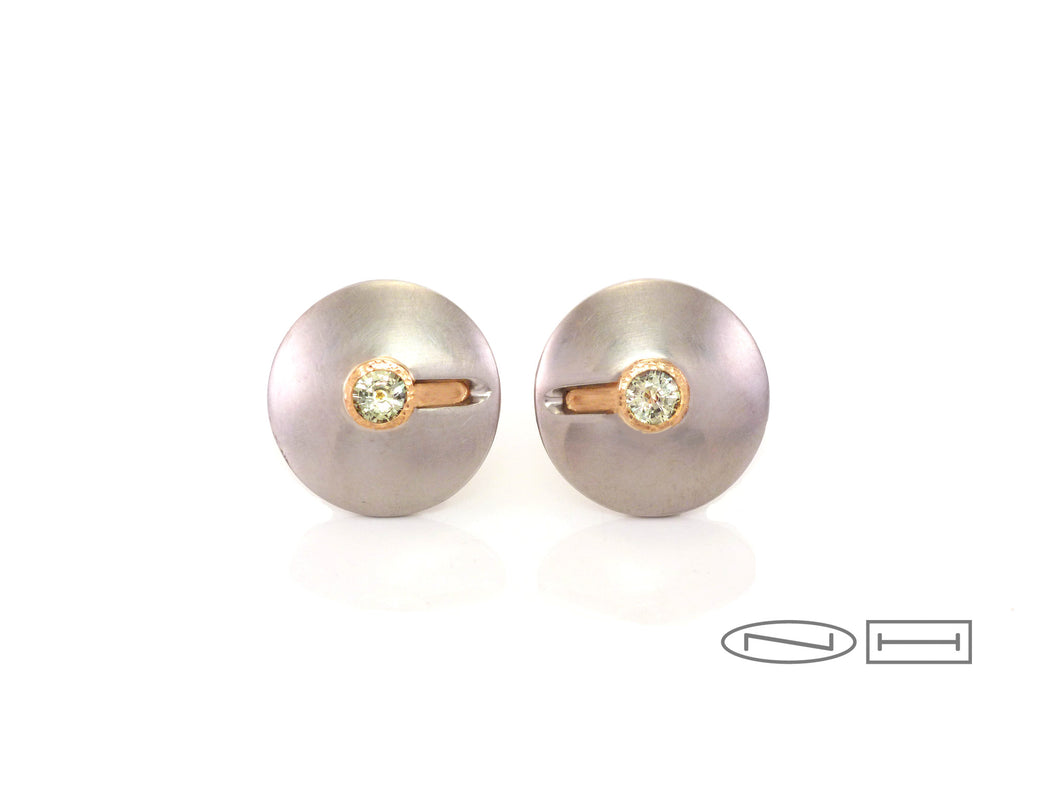 Disc sapphire earrings