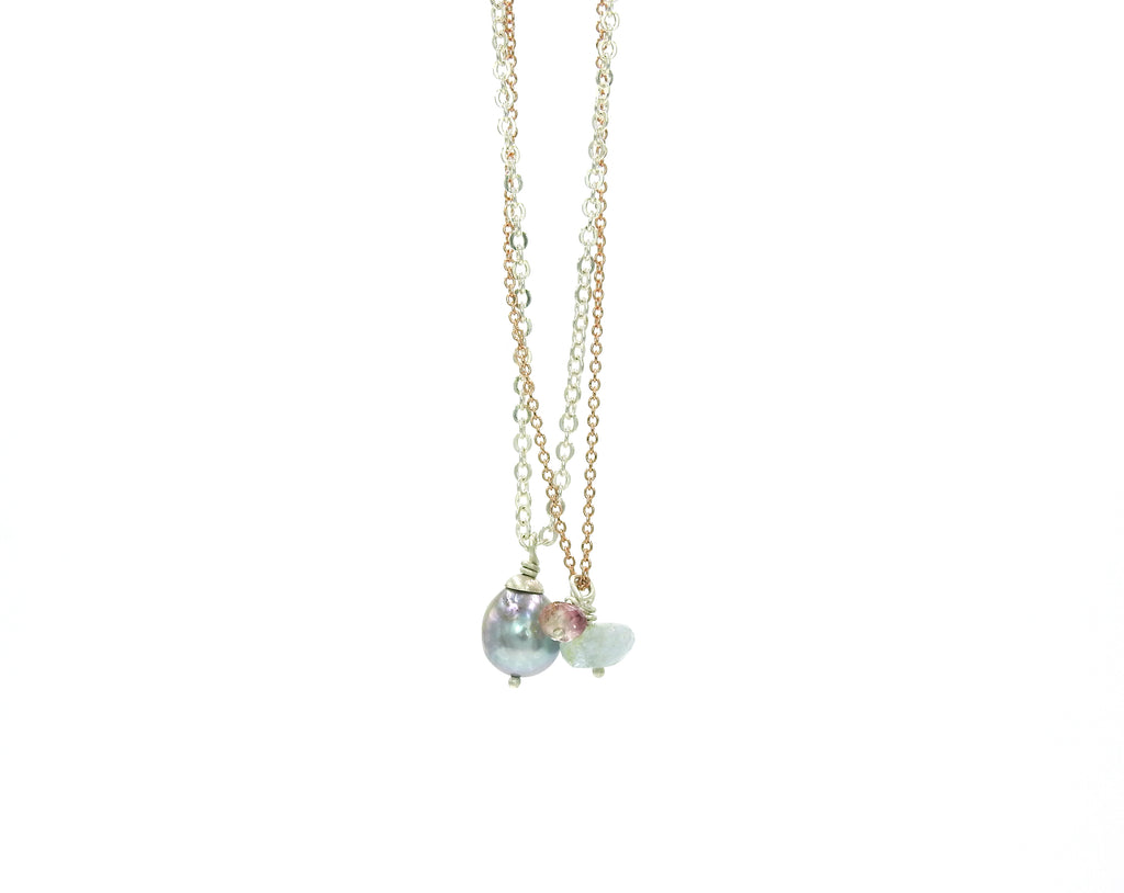 Gemstone Necklace, baroque pearls, sunstone, aquamarine,  by ZEALmetal, Nicole Horlor, Kingston ON Canada