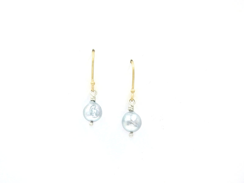 Handmade baroque pearl earrings made by ZEALmetal, Nicole Horlor, Kingston, ON, Canada