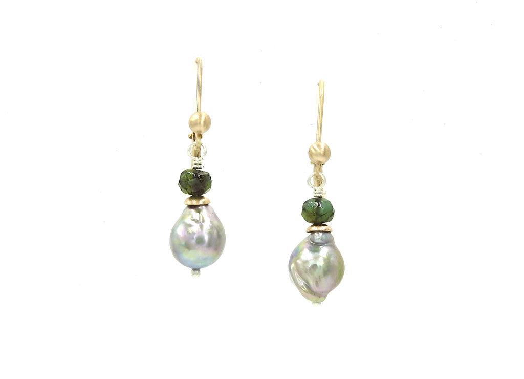 Grey baroque pearl earrings with green tourmaline and 14kt yellow gold lever backs, made by ZEALmetal, Nicole Horlor, Kingston, ON, Canada