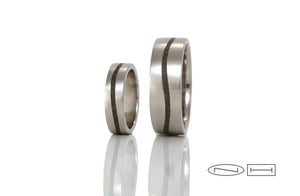 Custom limestone inlay wedding bands by ZEALmetal, Nicole Horlor, Kingston, ON, Canada