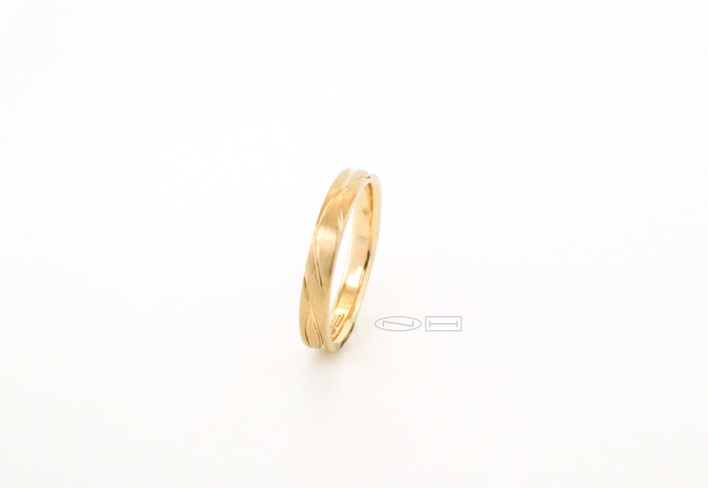 Organically you 3mm hand carved, comfort fit gold stacker. Matte finish with high polish carving and interior  Available in 18kt, or 14kt yellow, white, or red gold and platinum.