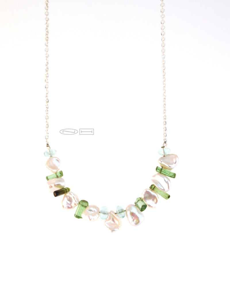 Keshi, Aquamarine and tourmaline necklace (sold)