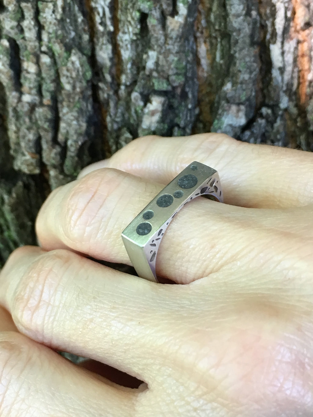 Nature and form ~ tapered square sterling silver ring with chased, oxidized pattern on the sides and circle limestone inlay on top.  Unique square shape exterior with a comfortable round interior.  Unique everyday ring playing on nature and form.   5mm width, matte exterior finish, with burnished edges and high polish interior.