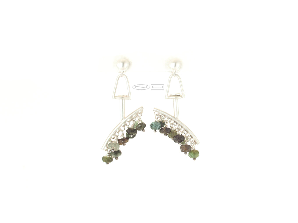 Fringe Tourmaline ~ Sterling silver mobile style earring with a bar covered in tied facetted tourmaline beads in full range of greens. The fringed bar rotates in the top part allowing the piece to have free movement to flow with you.  Canadian Handmade in Kingston ON