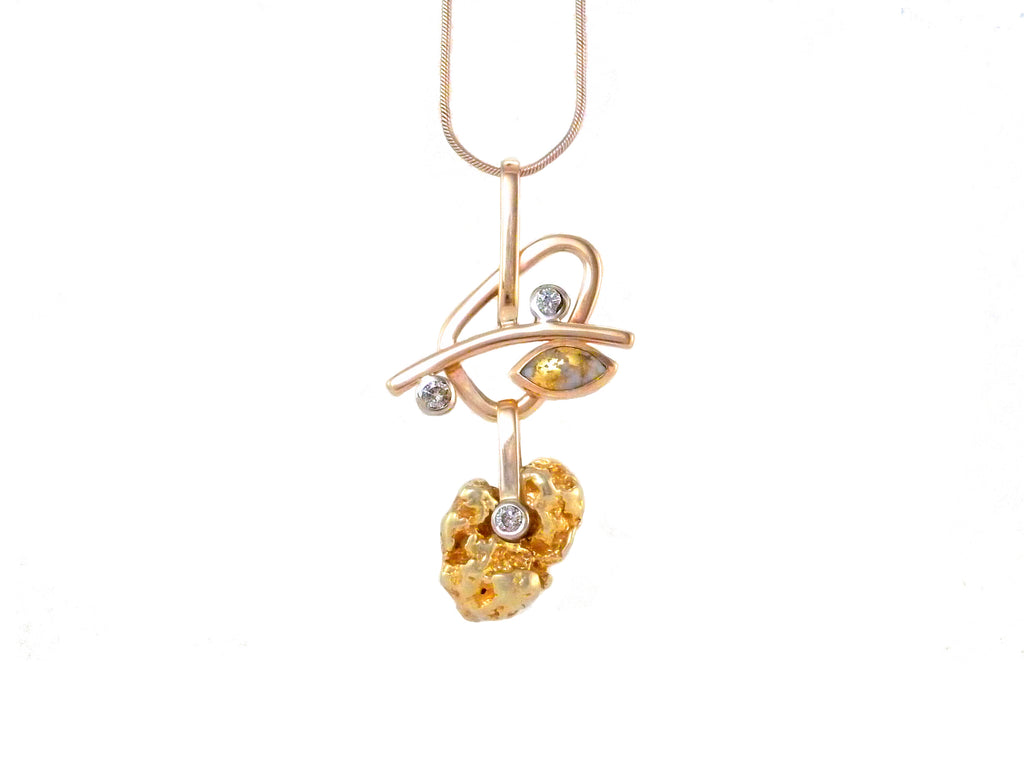 Custom recycled diamonds and gold pendant, made by ZEALmetal, Nicole Horlor, Kingston, ON, Canada