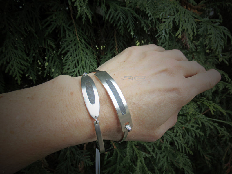 Local Canadian Handmade in Kingston ON by ZEALmetalLimestone oval in sterling silver Link style bracelet with lobster catch,  simple, clean, everyday fun!