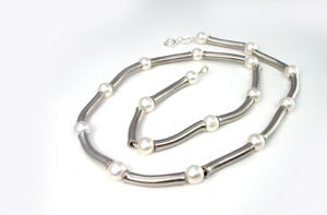 Stainless Steel with pearls