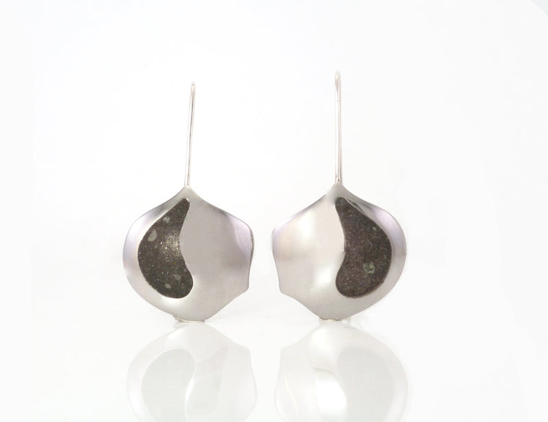 Canadian, Local, handmade, in Kingston ON by ZEALmetal Splash ~ sterling silver shaped splash dome with limestone inlay earrings