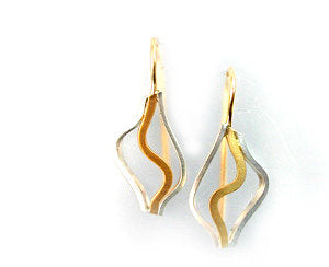 Wide Wave earrings two tone