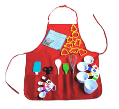 Playful Chef Baking Set with Red Apron