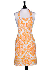 White & Orange Damask Chef's Apron