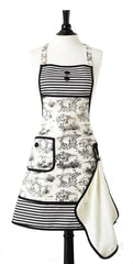 French Toile Gigi Apron with Terry Towel