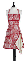 Red Paisley Damask Gigi Apron with Terry Towel