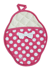 Pink & White Polka Dot Scalloped Pot Mitt