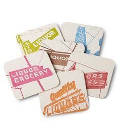 Letterpress Liquor Signs Coaster Set