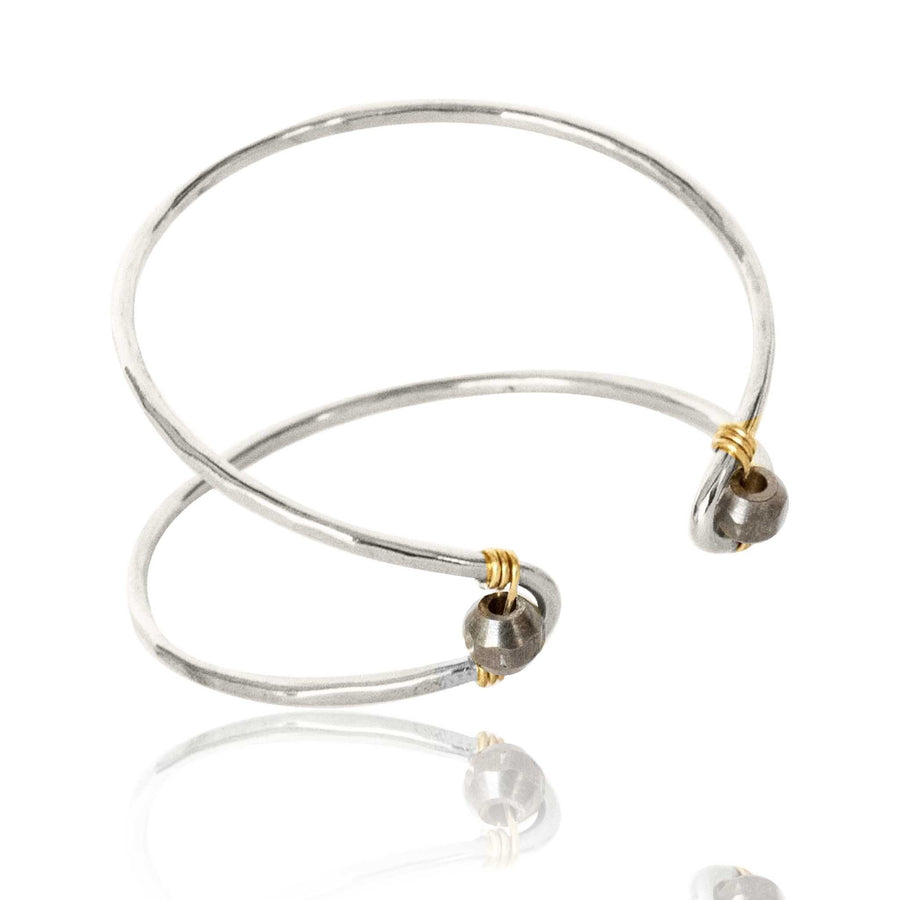 Marquise Cuff Bracelet with Brass Metal Bead Accent