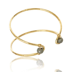 Marquise Cuff Bracelet with Labradorite Bead Accent