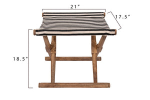 Striped Folding Stool, Black