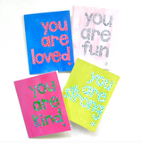 Note Card Set - You Are Kind/Fun/Strong/Loved Mix