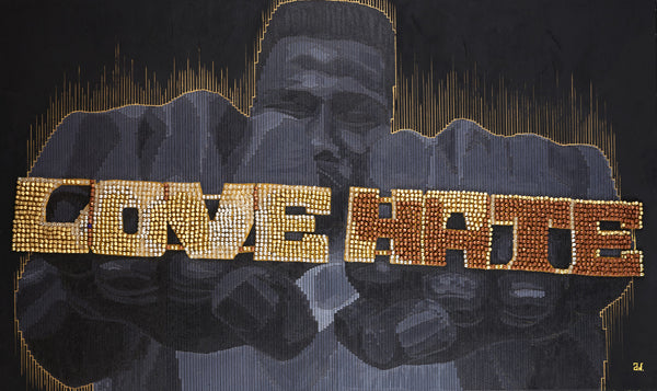 Love Hate Pushpin Art by Andre Woolery