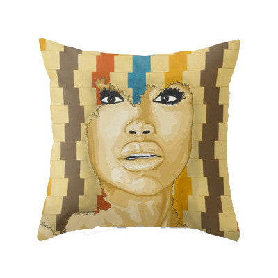 Badu Black woman portrait influenced throw pillows to bless your couch.  Blck Prism brings you Black art inspired lifestyle products.