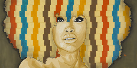 Erykah Badu Portrait Oil Painting by Andre Woolery