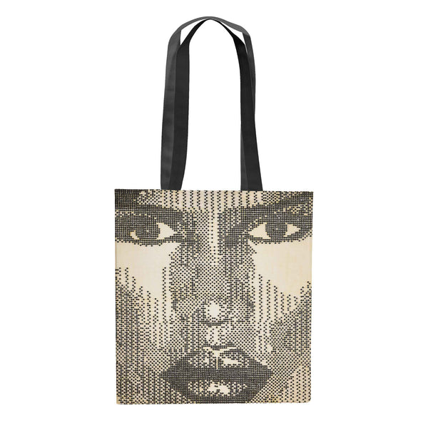 African American woman carrying Grace portrait art tote bag canvas bag by Andre Woolery.  Black art brought to you by Blck Prism.