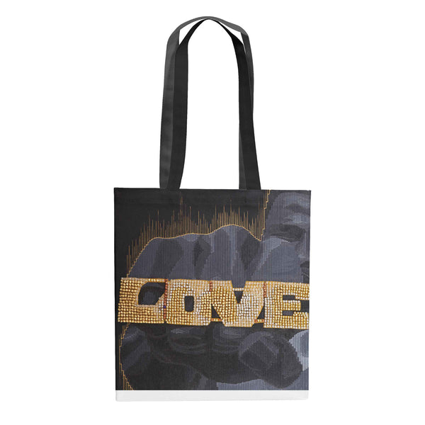 African American woman carrying Love Hate Radio Raheem Do the Right thing art tote bag canvas bag by Andre Woolery.  Black art brought to you by Blck Prism.