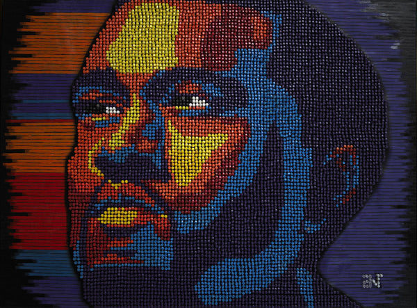Kanye West Pushpin Portrait by Andre Woolery Art