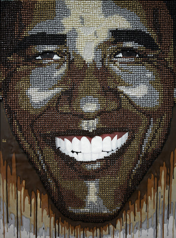 "President Obama ""Wet Paint"" pushpin art by Andre Woolery"