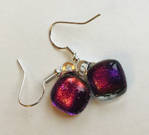 Dichroic drop earrings #135