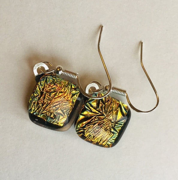 Dichroic drop earrings #124