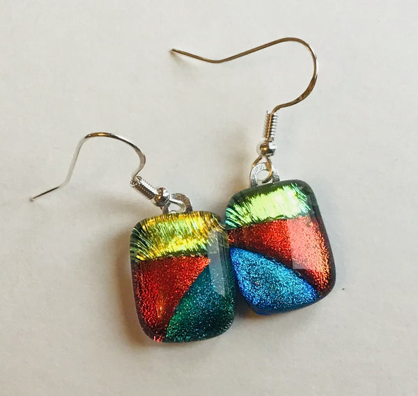 Dichroic drop earrings #132