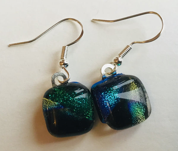 Dichroic drop earrings #137