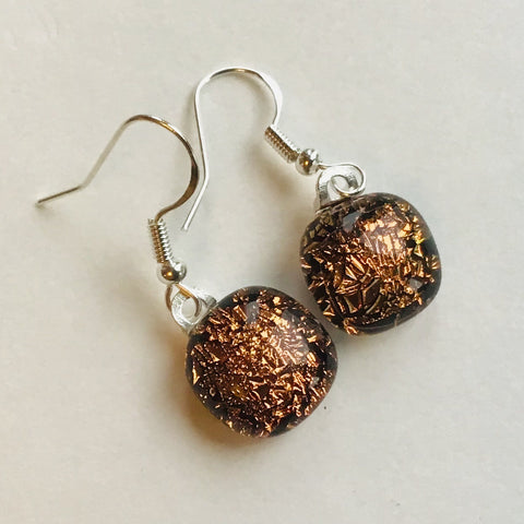Dichroic drop earrings #141