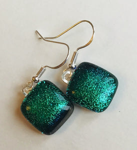 Dichroic drop earrings #131