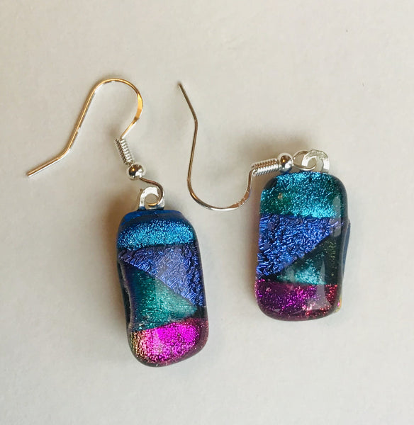 Dichroic drop earrings #115