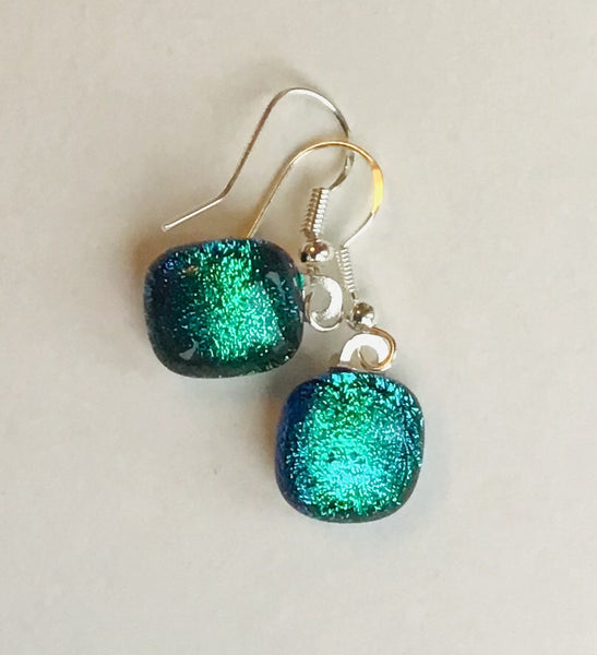 Dichroic drop earrings #121