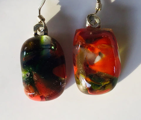 Fused glass drop earrings #136