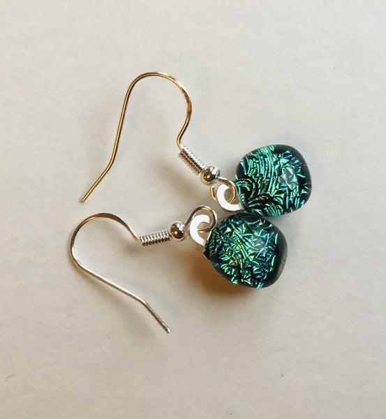 Dichroic drop earrings #138