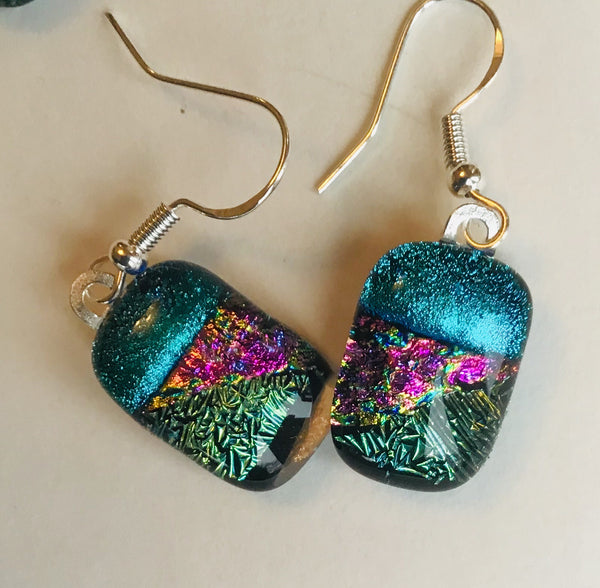 Dichroic drop earrings #116