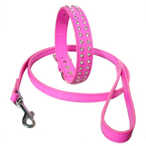 Dog Collar & Lead Sets 2-Row Dog Collar Lead Set - Hot Pink - Prince & Princess Designer Petwear