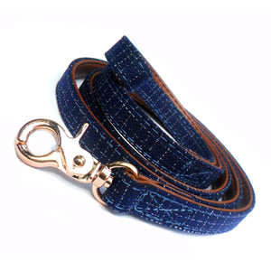 Dog Leads Blue Denim Fabric Dog Leads - Prince & Princess Designer Petwear