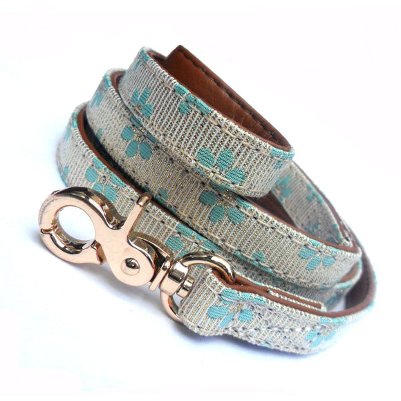 Flower Fabric Dog Leads - Blue