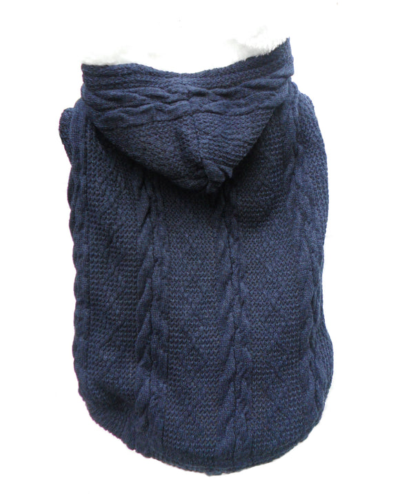Dog Clothes Cable Knit Fleece Dog Hoody - Blue - Prince & Princess Designer Petwear