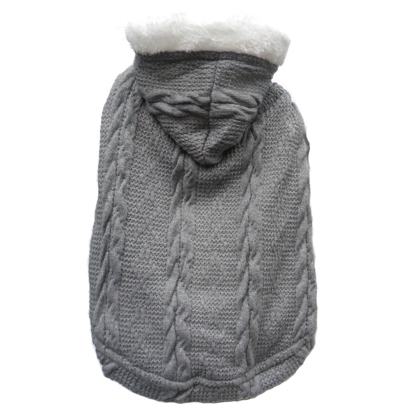 Cable Knit Fleece Dog Hoody - Grey - [product type] from Prince & Princess Designer Petwear