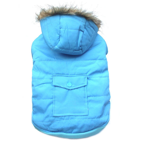 Dog Clothes Designer Parka Dog Coat - Blue - Prince & Princess Designer Petwear
